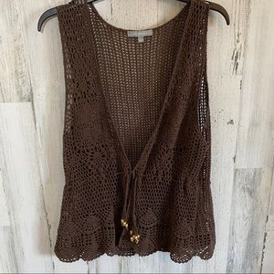 NY Collection  Brown Loose Knit Summery Vest